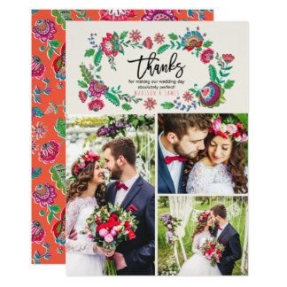 Folk Flowers | Thank you | Wedding | 3 Photos Card