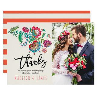 Folk Flowers | Thank you | Wedding | Photo Card