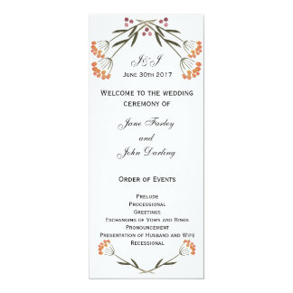 Folk Flowers Wedding Program