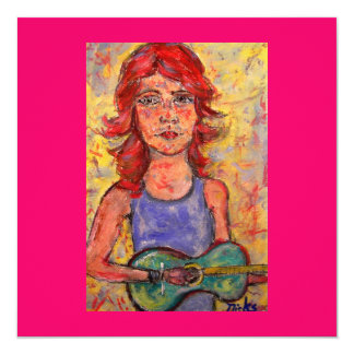 folk girl playing colourful guitar 13 cm x 13 cm square invitation card