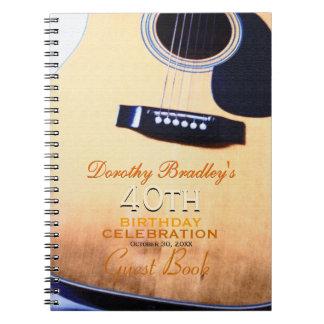 Folk Guitar 40th Birthday Personalized Guest Book