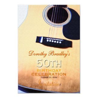 Folk Guitar 50th Birthday Celebration Custom 9 Cm X 13 Cm Invitation Card
