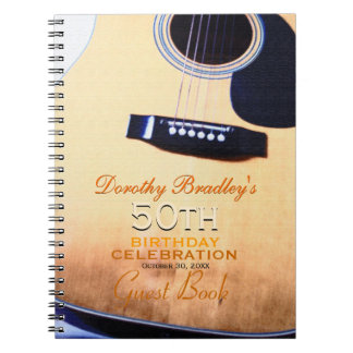 Folk Guitar 50th Birthday Personalized Guest Book Spiral Note Book