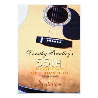 Folk Guitar 55th Birthday Celebration Custom 9 Cm X 13 Cm Invitation Card