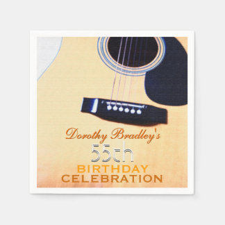 Folk Guitar 55th Birthday Celebration Paper Napkin