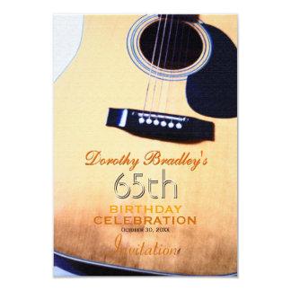 Folk Guitar 65th Birthday Celebration Custom 9 Cm X 13 Cm Invitation Card