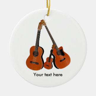 Folk Guitar Acoustic Bass and Ukulele Ceramic Ornament