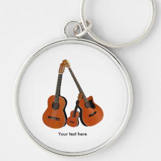 Folk Guitar Acoustic Bass and Ukulele Silver-Colored Round Key Ring