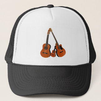 Folk Guitar Acoustic Bass and Ukulele Trucker Hat