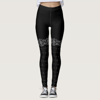 Folk inspired fake thigh high leggings