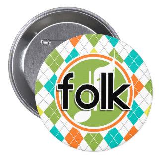 Folk Music; Colorful Argyle Pattern Pin