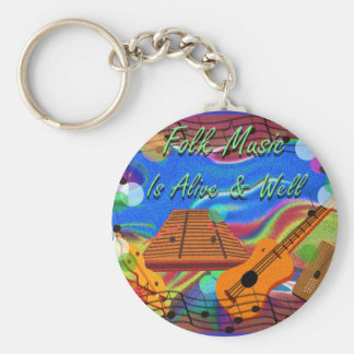 Folk Music Is Alive and Well Basic Round Button Key Ring