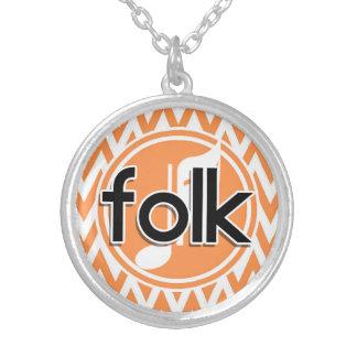 Folk Music Orange and White Chevron Necklaces