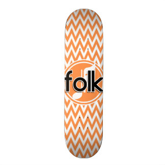 Folk Music Orange and White Chevron Skate Decks