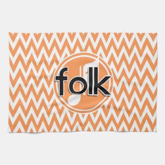 Folk Music Orange and White Chevron Kitchen Towel