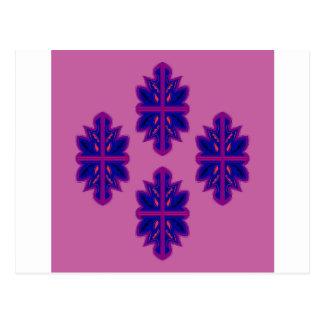 Folk ornaments purple postcard