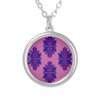 Folk ornaments purple silver plated necklace
