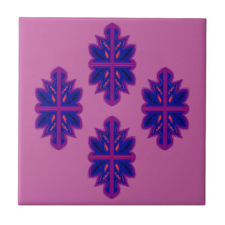 Folk ornaments purple tile