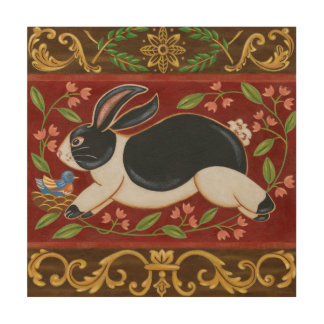 Folk Rabbit Wood Wall Art