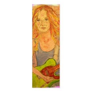 folk rock girl art business card template