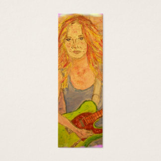 folk rock girl art mini business card