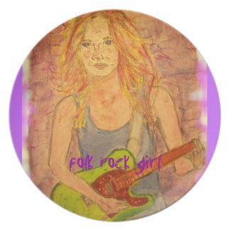folk rock girl art plates