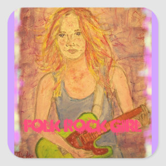 folk rock girl art square sticker