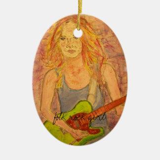 folk rock girl design ceramic oval decoration