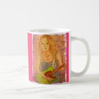 folk rock girl playin' electric colored edges basic white mug