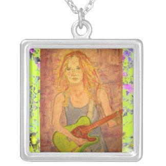 folk rock girl playin' electric drip personalized necklace