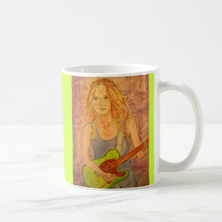 folk rock girl playin' electric basic white mug