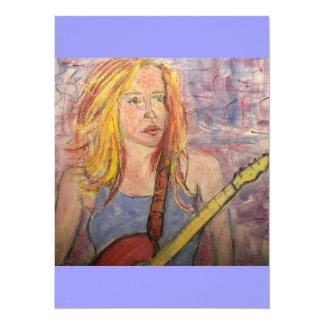 folk rock girl reflections 14 cm x 19 cm invitation card