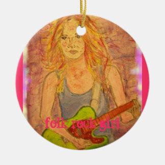 folk rock girl round ceramic decoration