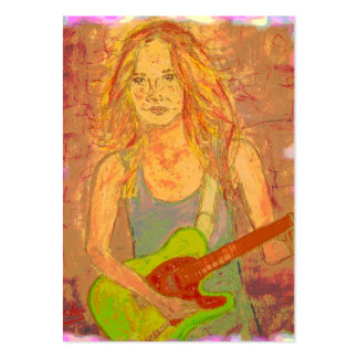 folk rock girl screenprint look business card template