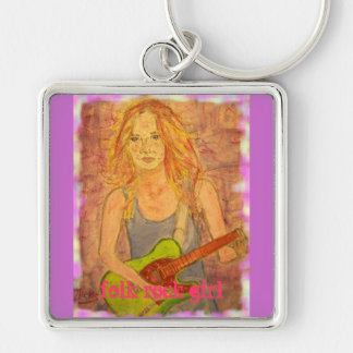 folk rock girl Silver-Colored square key ring