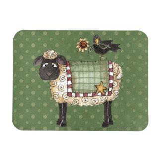 Folkart Country Sheep & Crow Rectangular Photo Magnet