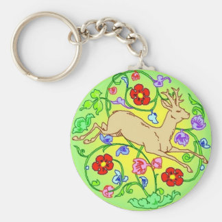 Folkart Deer Buck Running Through a Garden Key Ring