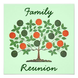"Folkart Family Tree Reunion Party Invitations 5.25"" Square Invitation Card"
