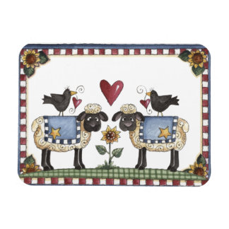 Folkart Sheep Crows & Sunflowers Magnet