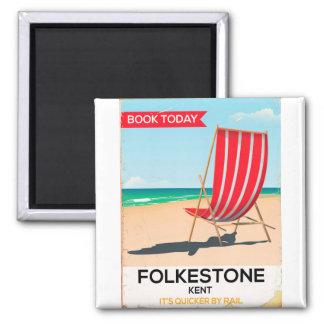 Folkestone Kent vintage seaside poster Square Magnet