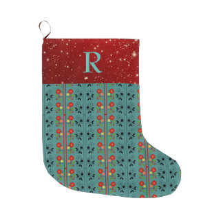 Folklore Christmas Stocking Turquoise Red