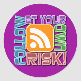 Follow At Your Own Risk! RSS Icon Button Design Sticker