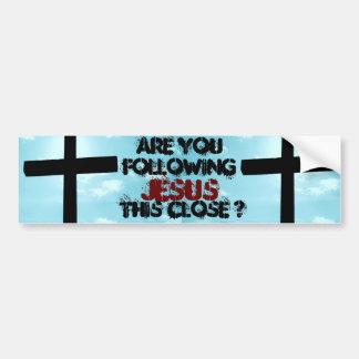 Follow Jesus Christ Inspirational Faith Church Art Bumper Sticker