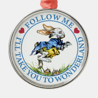Follow Me. I'll Take You To Wonderland! Silver-Colored Round Decoration