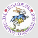 Follow me - I'll take you to Wonderland! Round Stickers
