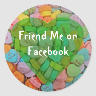 Follow Me on Facebook-Candy Hearts with New Saying Sticker
