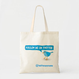 Follow Me On Twitter Blue Bird Budget Tote Bags