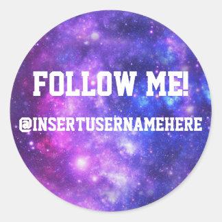 Follow Me Personalized Galaxy Round Sticker