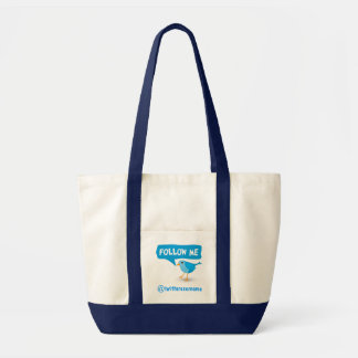 Follow Me Twitter Blue Bird Impulse Tote Bags