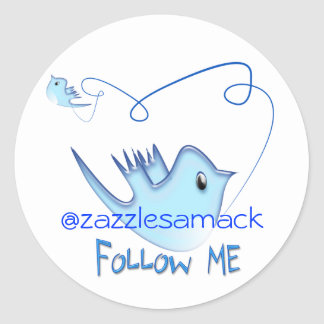 Follow ME Twitter  Gifts and Swirls T-shirts Round Sticker